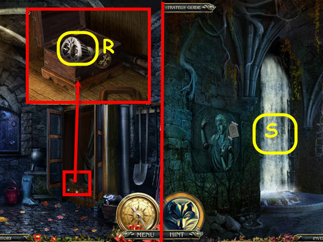 Examine and place the CROSS KEY on the box; take the BULB (R). Back