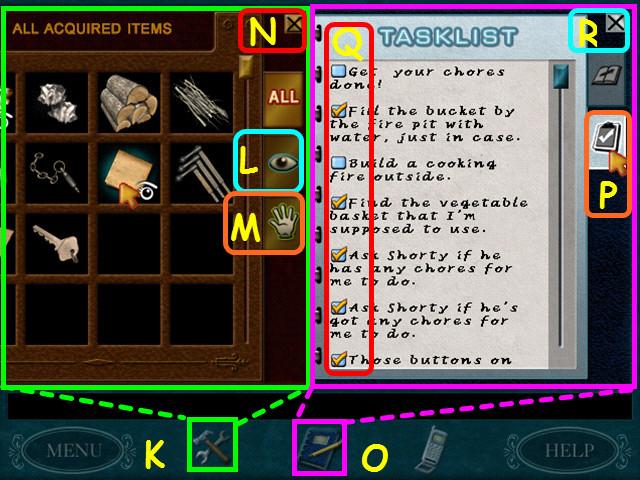 Seleccione el icono de herramientas para abrir tu inventario k