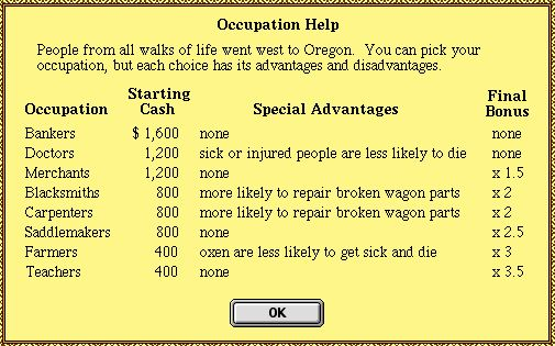 Oregon Trail Occupations